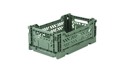 Folding Storage Crate - MINI - Almond Green