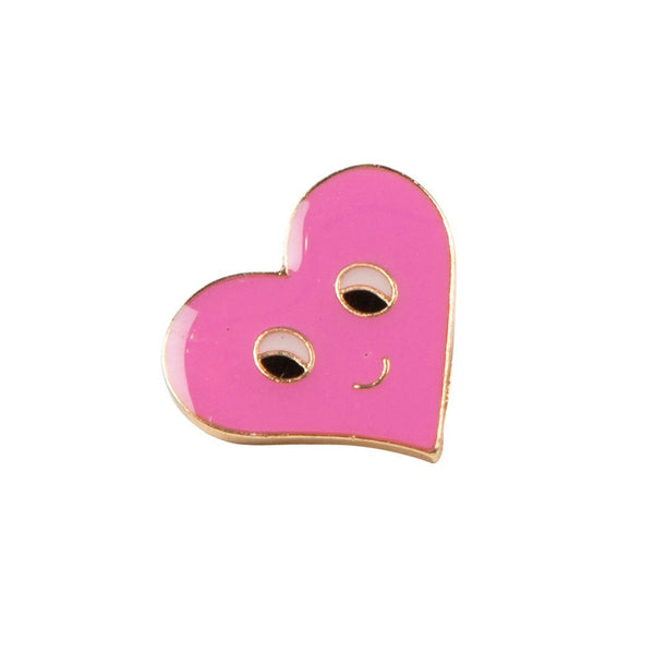 Pink Face Heart Pin Badge - Badge