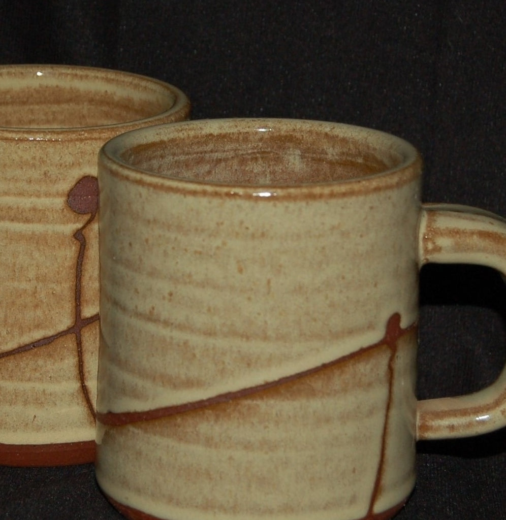 fea5f9cd32 Large Stoneware Coffee Cups, Hand-made with a bright yellow glaze