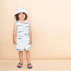 Organic Cotton Shorty Kids Jumpsuit - Blue