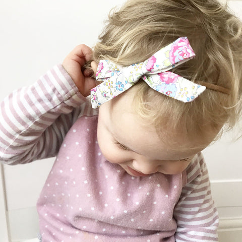 Linen & Liberty Print Bows on a Baby Headband