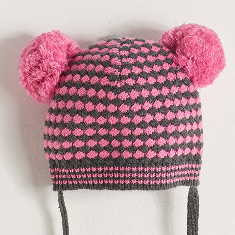Chunky Knitted Hat With Pom Pom Ears - Bright Pink/Grey