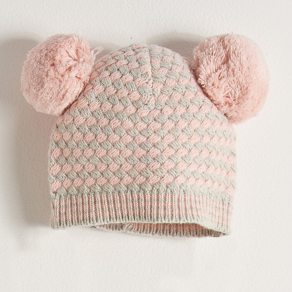 7f4fb378e18 Chunky Knitted Hat With Pom Pom Ears Kids - Pale Pink Grey – Lily ...