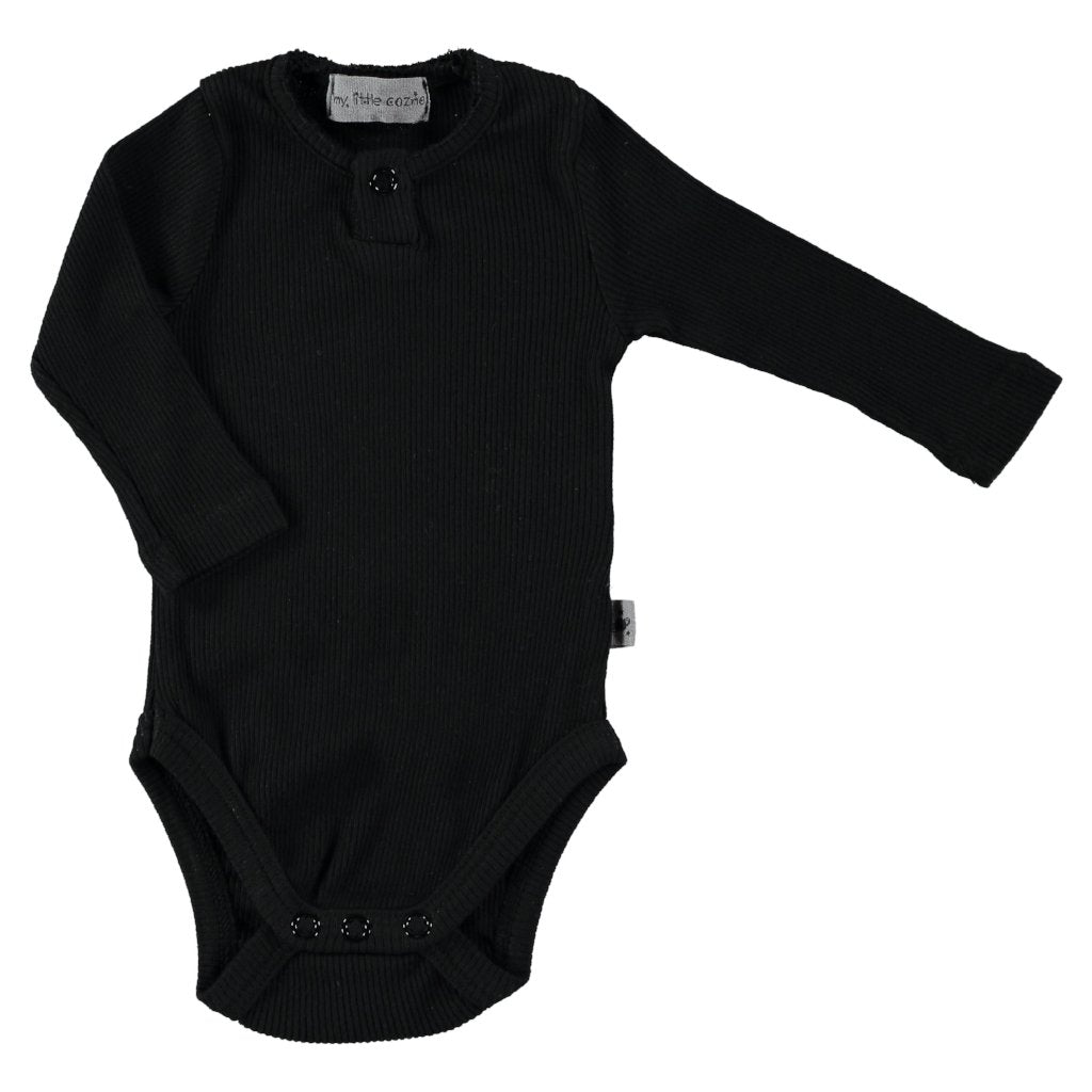 Organic Rib Bodysuit in Black