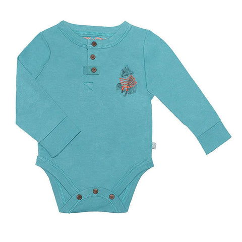 Woodland Turquoise Long Sleeve Bodysuit