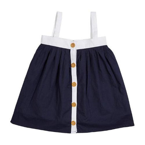 Navy Button Through Dress