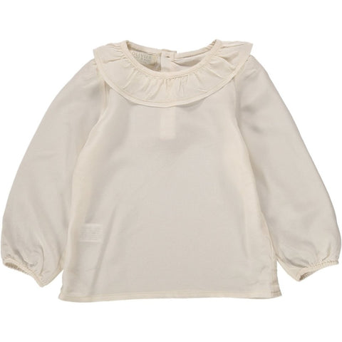 Maria Frill Collar Shirt - Cream Silk