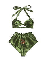 Embroidered Wild Cat Satin Sleep Set