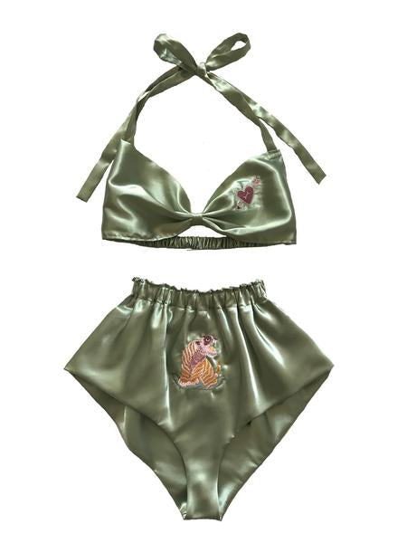 Lovecat Embroidered Mint Satin Sleep Set
