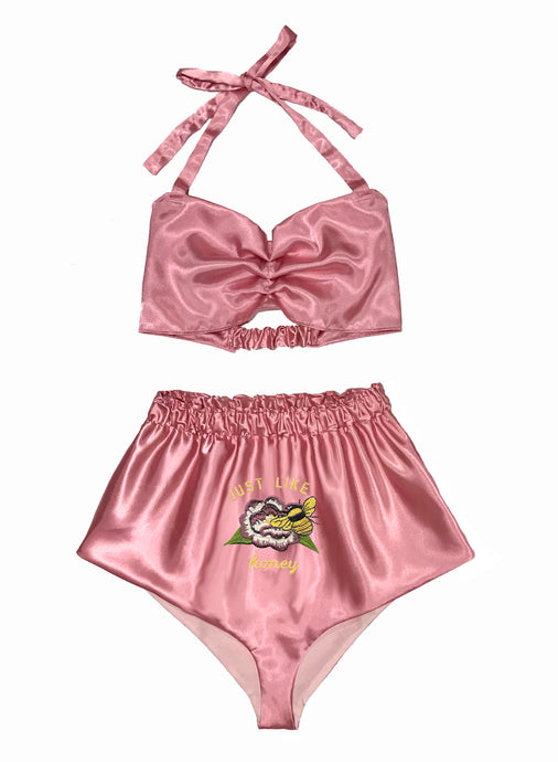 Honeybee Embroidered Satin Set (Ready to Ship)