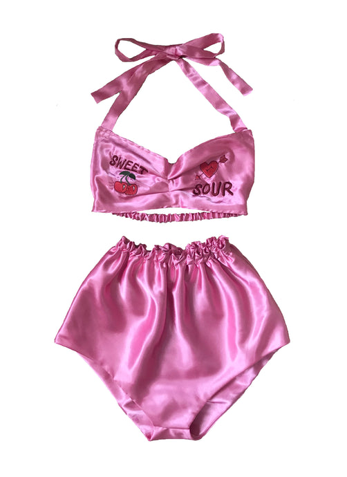 Basic Heartbreaker Embroidered Satin Set