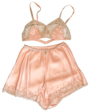 Peach Satin & Lace 1940s Lingerie Set