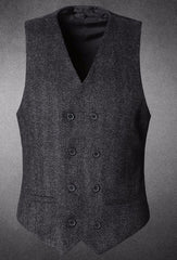 New Suit Time -Xavier Series - Men's Double Breasted Vest - Dark Grey