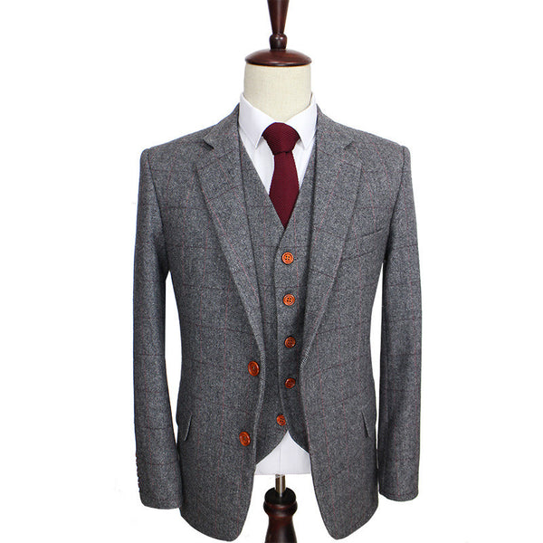 New Suit Time -Oswald Series - 3 pc Men's Suit -Grey Herringbone