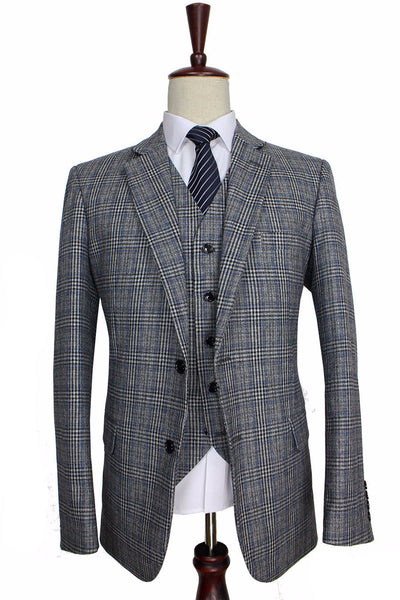 New Suit Time -Reynolds Series- 3 pc Men's Suit -  Grey Tweed