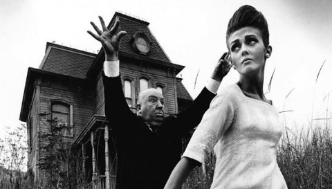 Photo: Hitchcock & Twiggy on the set of Psycho