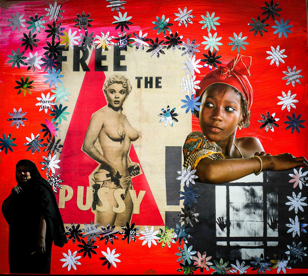 Photo Collage: Free The Pussy by Toni Peach at 100Prints.co.uk