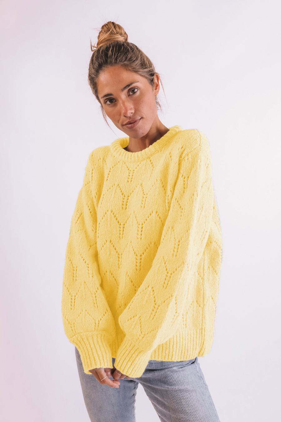 Yellow Openwork Sweater