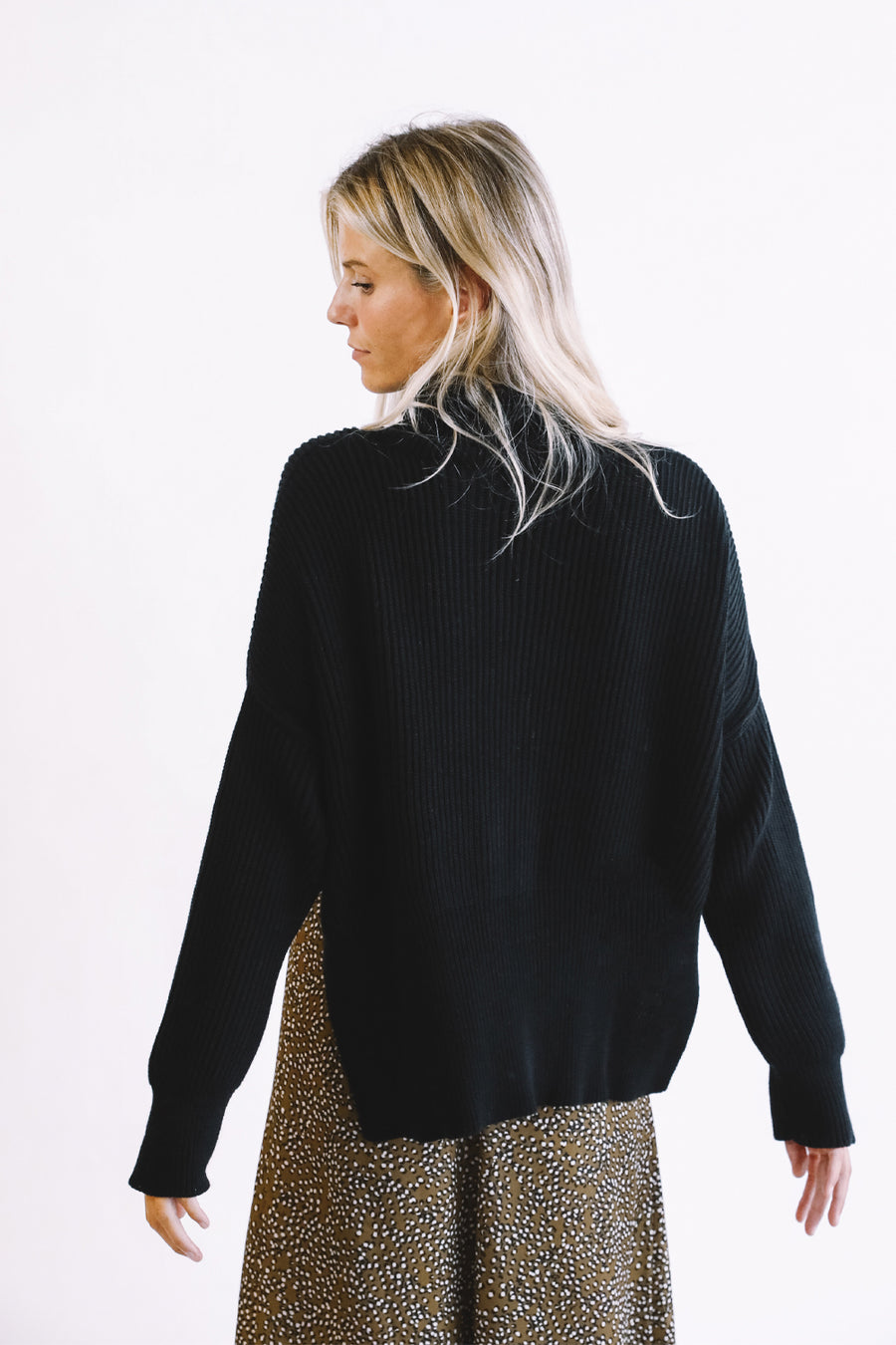 Black Maxi Neck Sweater