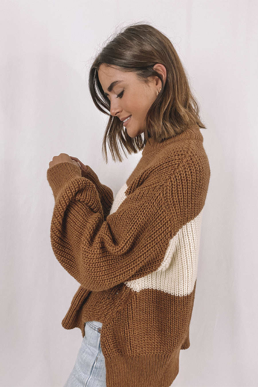 Cream Panel Sweater