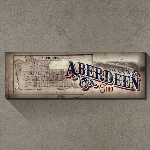 """Aberdeen, Ohio"" 1'x3' Metal Sign Decor - River Valley Special Tee's"