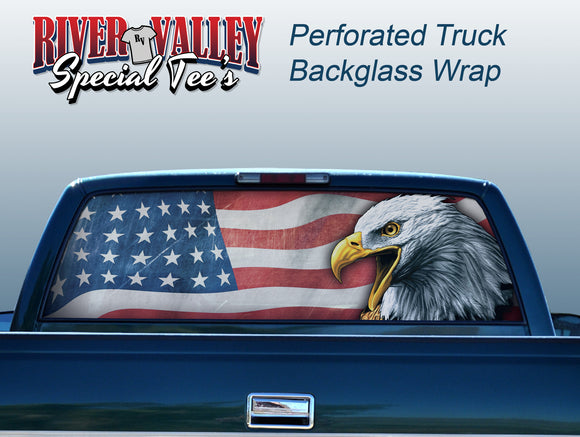 American Flag with Eagle Truck Window Wrap - River Valley Special Tee's