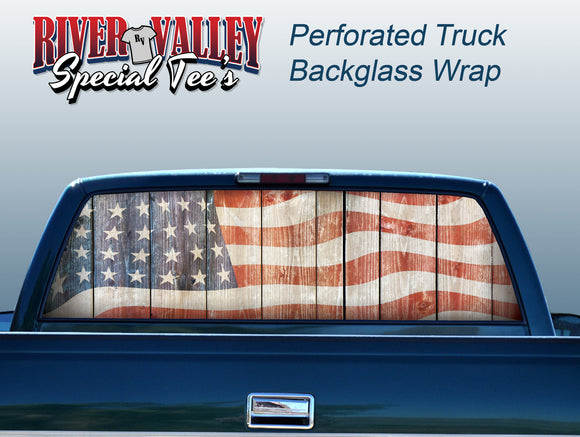 Rustic American Flag Truck Window Wrap - River Valley Special Tee's