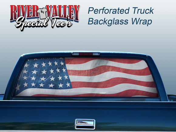 American Flag Truck Window Wrap - River Valley Special Tee's