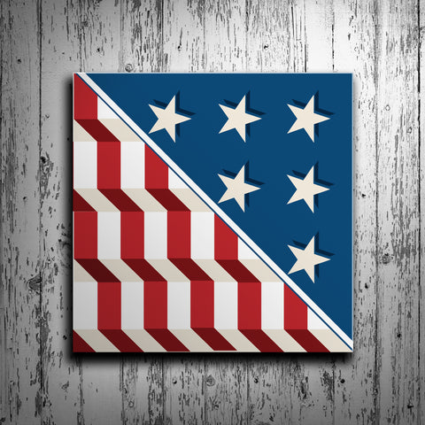 Patriotic American Flag Barn Quilt - River Valley Special Tee's