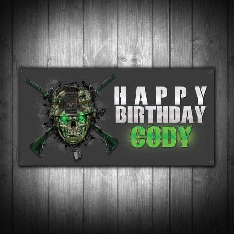 Customized Army Video Game Birthday Party Banner - River Valley Special Tee's