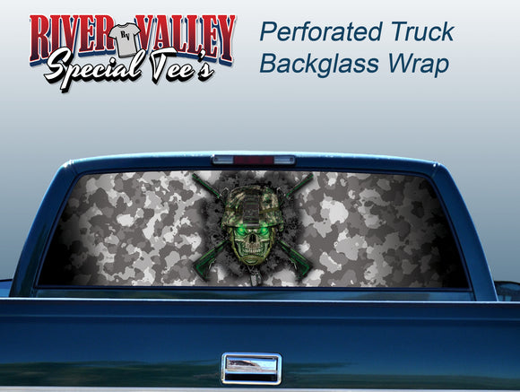 Army Skull Truck Window Wrap - River Valley Special Tee's