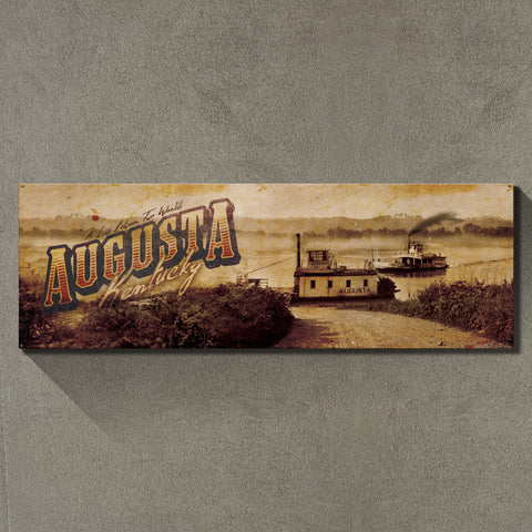 """Augusta, Kentucky"" 1'x3' Metal Sign Decor - River Valley Special Tee's"