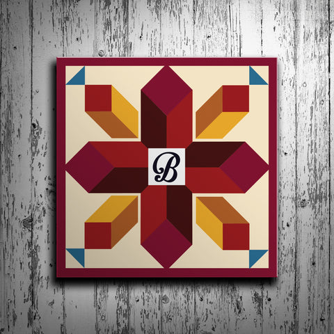 Cross Barn Quilt with Initial Monogram - River Valley Special Tee's