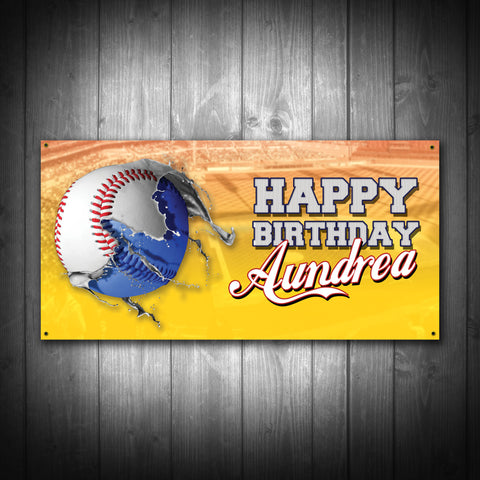 Customized Baseball Birthday Party Banner - River Valley Special Tee's