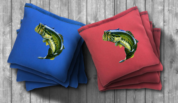 Bass Fishing Cornhole Bag Set - Choose your Colors! - River Valley Special Tee's
