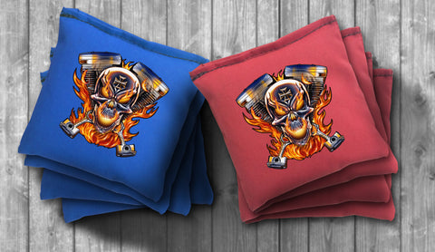 Biker Skull Cornhole Bag Set - Choose your Colors! - River Valley Special Tee's