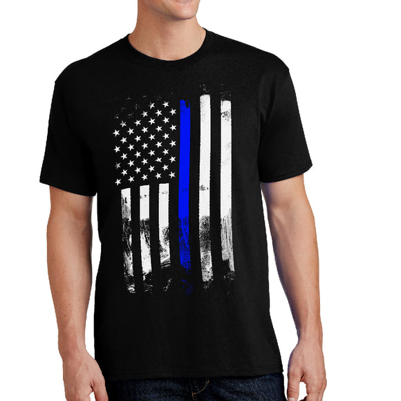 Thin Blue Stripe Distressed  - Police Themed Unisex Shirt - River Valley Special Tee's