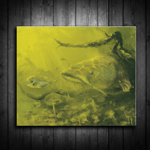 Flathead Catfish Painting - Canvas Print - Multiple Sizes - River Valley Special Tee's