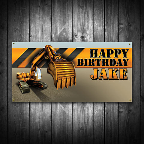 Customized Construction Equipment Birthday Banner
