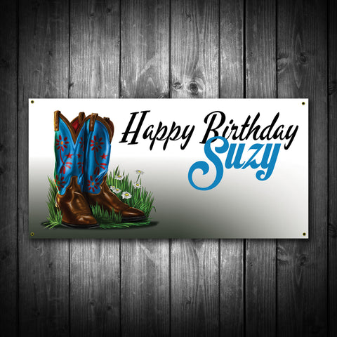Cowgirl Boots Themed Birthday Banner - River Valley Special Tee's