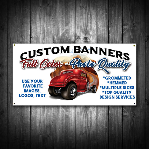 Custom Printed Banner - Use your text, images, logos - River Valley Special Tee's