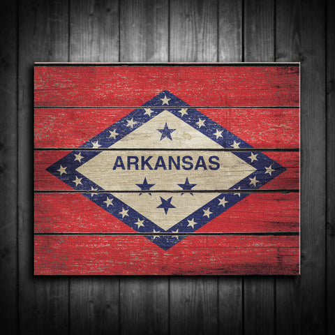 Distressed Arkanas Flag Canvas Print - Multiple Sizes! - River Valley Special Tee's