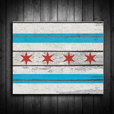 Distressed Chicago Flag Canvas Decor