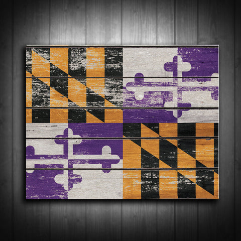 Distressed Maryland Flag Canvas Print - Baltimore Colors - Multiple Sizes! - River Valley Special Tee's