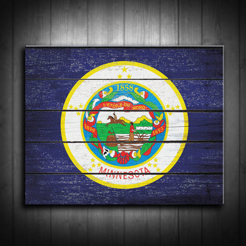Distressed Minnesota Flag Canvas Print - Multiple Sizes! - River Valley Special Tee's