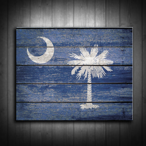 Distressed South Carolina Flag Canvas Print - Multiple Sizes!