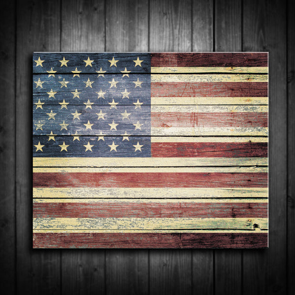 Rustic American Flag Canvas Print - Multiple Sizes! - River Valley Special Tee's