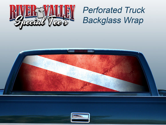 Diver Down Flag Truck Window Wrap - River Valley Special Tee's