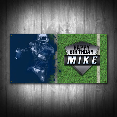 Customized Football Birthday Party Banner - River Valley Special Tee's