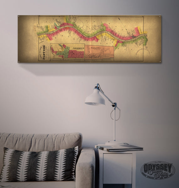 """Ohio River Map - Maysville - Levanna"" 1'x3' Metal Sign Decor - River Valley Special Tee's"